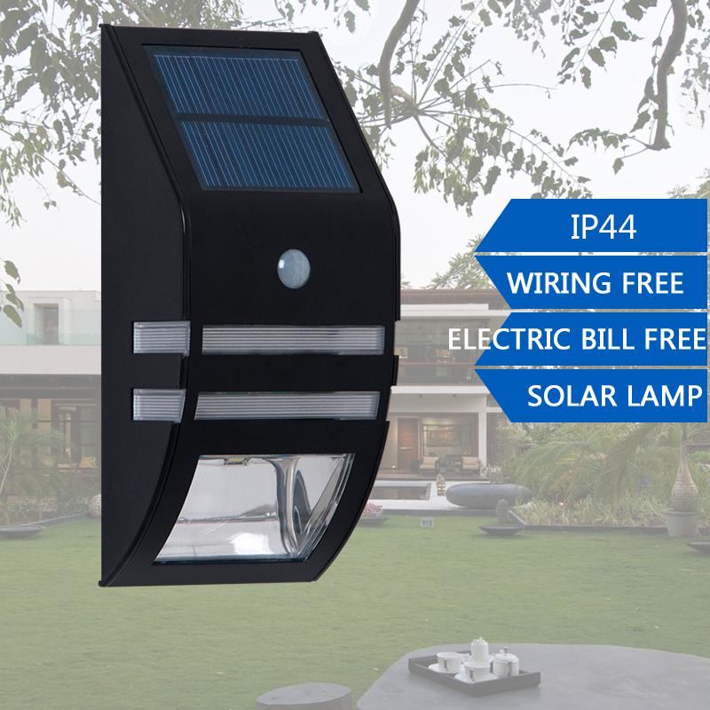 Free Shipping Waterproof 2 LED 120LM PIR Solar Motion Sensor Lamp Garden Yard Outdoor Wall Pathway Lights Black/Silver Wholesale(China (Mainland))