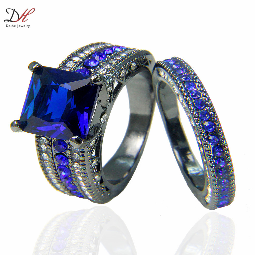 Black And Blue Wedding Rings 013 - Black And Blue Wedding Rings