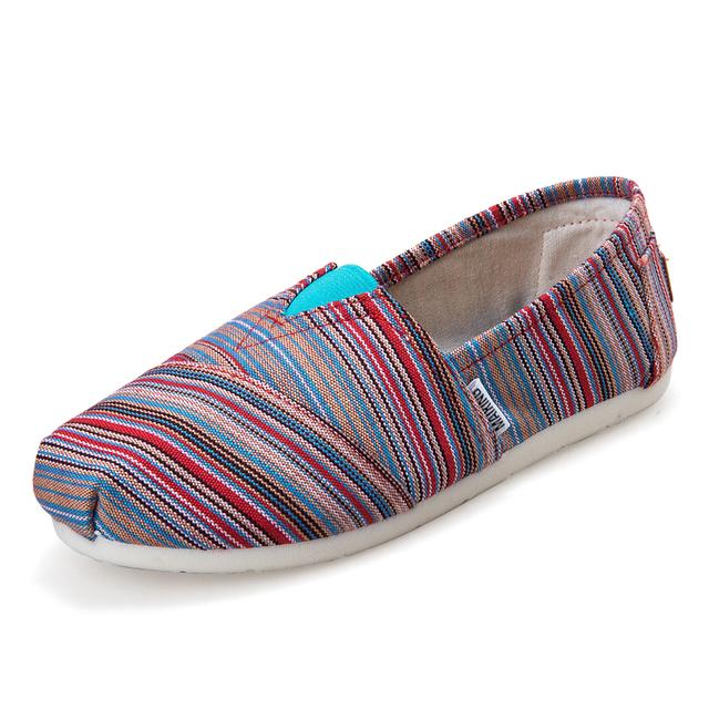 Женщины парусиновые туфли квартиры свободного покроя полосатый супер мягкий на открытом ...