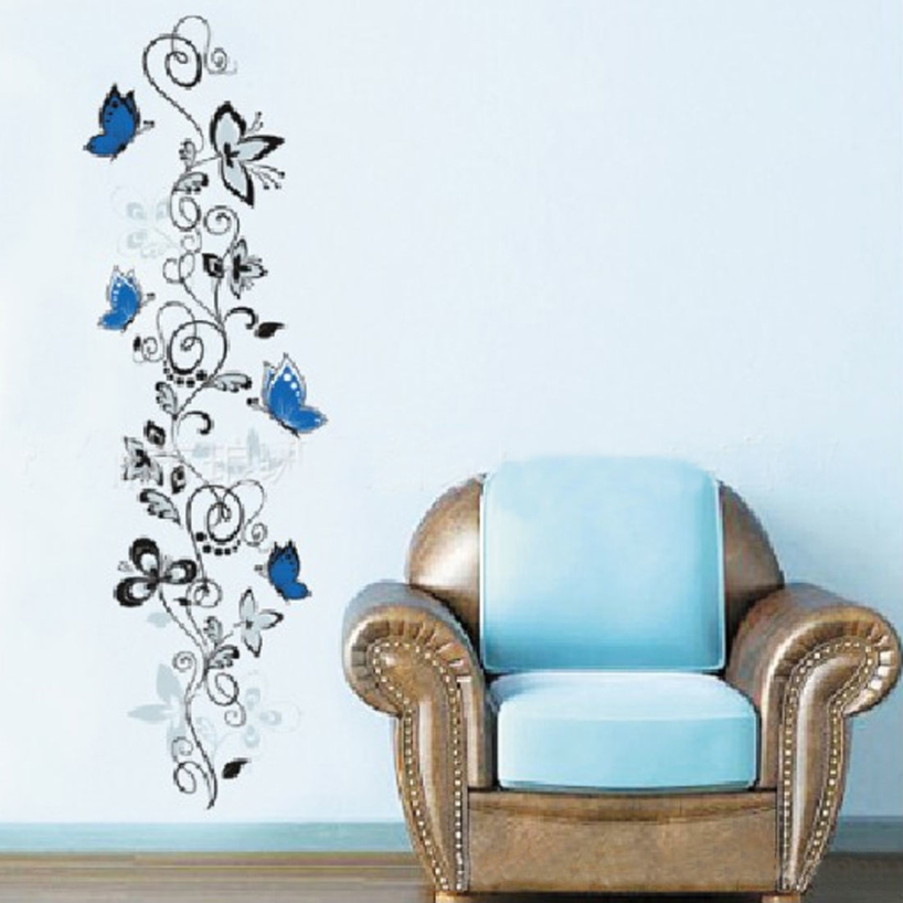 Essential 2015 New Design Blue Butterfly Winding Vine/PVC Wall Decals :140*35cm/Waterpoof Wall Sticker Adesivo De Parede 623(China (Mainland))