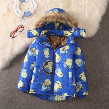 Hot Sale 2015 Winter Baby Girls Boys Minion Coats Children Warm Outdoor Cotton-padded Jacket Kids Casual Thick Outerwear Parkas