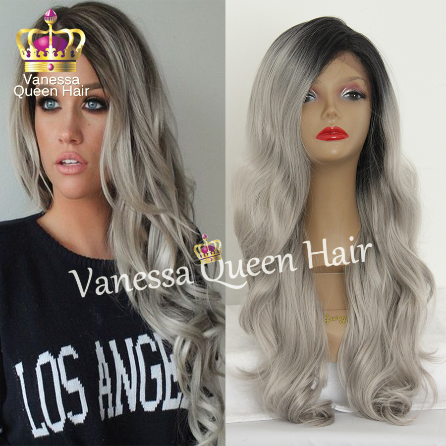 Top quality gray ombre body wave hair synthetic lace front wig heat resistant synthetic wig glueless for black women wigs <br><br>Aliexpress