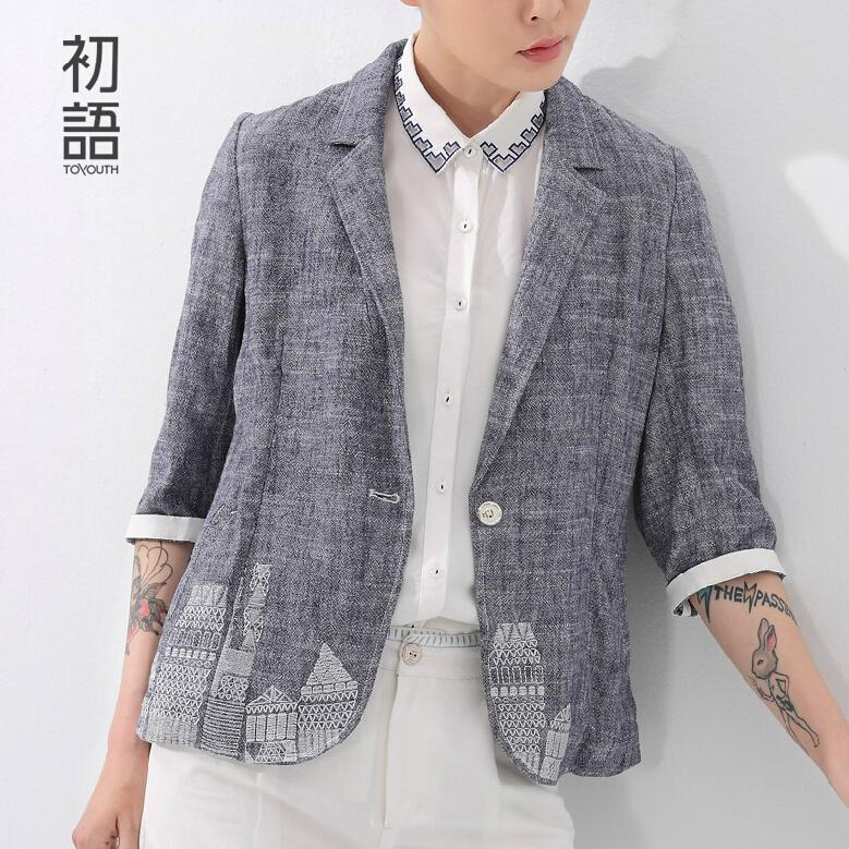Toyouth British's Style New Brand Blazer Women Linen Casual Suit Women Blazers Slim Fit Regular Single Button Flax Suit Jacket(China (Mainland))