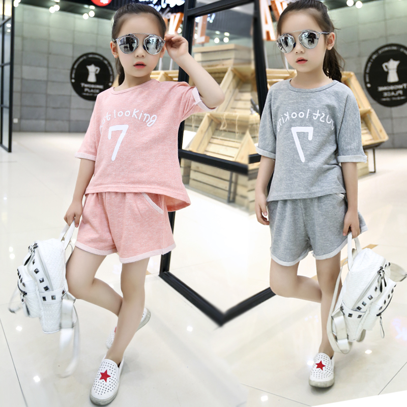 Ensemble Fille 4-13T Sport Suits for Girls Summer Wear Teenage Children Clothes Short Sleeve Letter T-shirt + Shorts Childrens(China (Mainland))