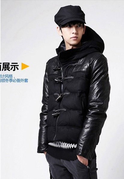 Free Shipping 2014 Winter Slim Thickening Cotton Clothes Men s Hood Patchwork Cotton Padded Jacket Male