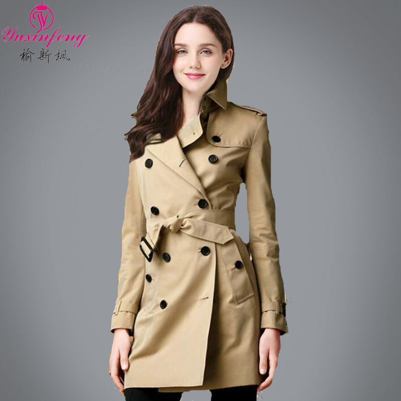 Trench coats women fall 2015 new fashion double breasted coat trench size slim slimming tide