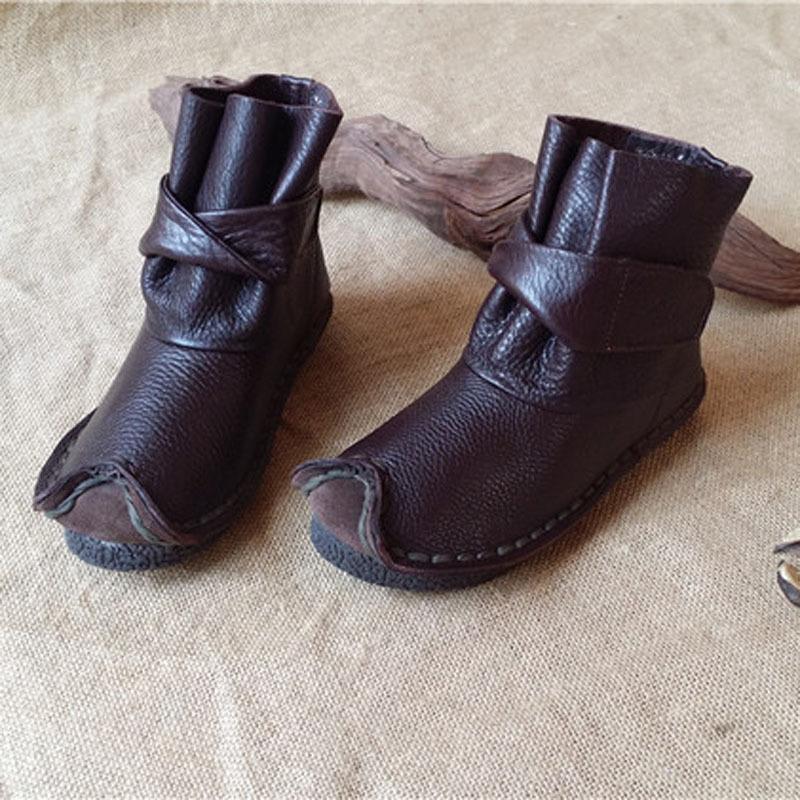 Фотография 2016 handmade genuine leather casual shoes woman fashion spring and autumn  women boots zapatos mujer sapato feminino