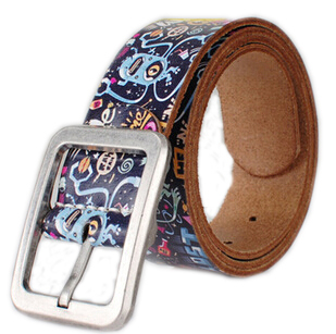 New High Quality Buckle Cowhide Unisex Belt Western Fashion Joker Leather Print Graffiti Design Women/men Belt For Gift(China (Mainland))
