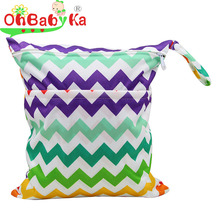 OhBabyKa Baby Diaper Bags Printed Double Zippered Wet/Dry Bag Waterproof Wet Cloth Diaper Backpack Reusable Diaper Cover WetBag(China (Mainland))