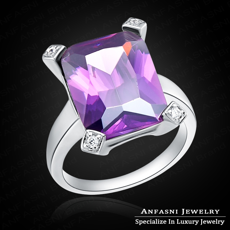 High Grade Mysterious Purple Square Ring Real Platinum Plated Genuine SWA Stellux Austrian Crystal Party Rings WX-RI0053(China (Mainland))