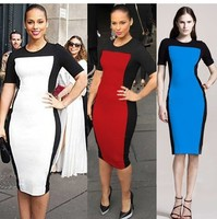 short sleeve women dress pencil dresses white patchwork europoean style summer sping autumn robe sexy vetement femme elbise R15