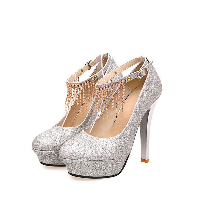 Autumn Gold Low Crystal Wedding Shoes Women's Silver Platform Shoes Strappy Sircular Head Tassel Shoes Low Crystal Wedding Shoes(China (Mainland))