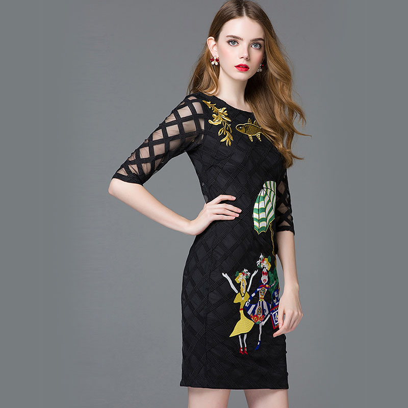 black wheelbarrow and umbrella cartoon character embroidery Gold Fish embroidery dresses 2016 runway high quality dress 160308(China (Mainland))