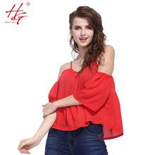 S23 2016 летом женские обвязки топы шифон майки женщина красный топы девочек с плеч половина рукава спинки рубашка сексуальная(China (Mainland))