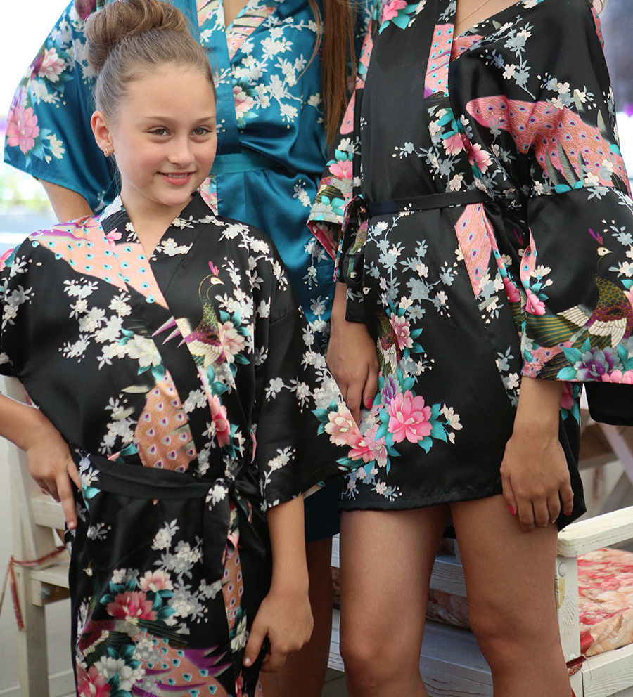 Peacock Kids Robe Silk Rayon Children Kimono Gown Bridesmaid Flower Girl Dress Child Bathrobe Floral Nightgown 9 Colors(China (Mainland))