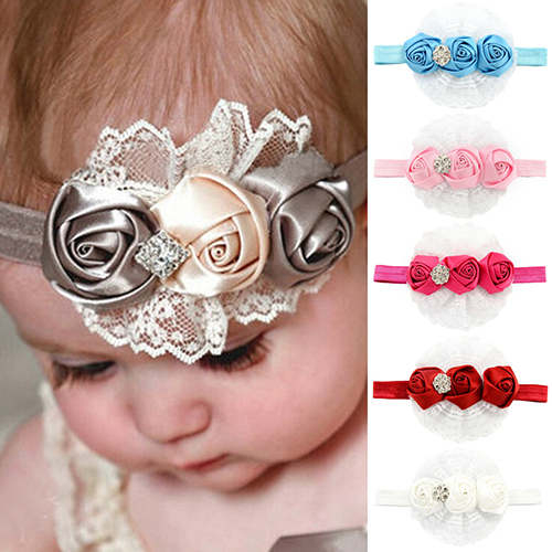 Baby Kids Girl Rose Flower Princess Lace Ribbon Elastic Headbands Hair Accessories(China (Mainland))