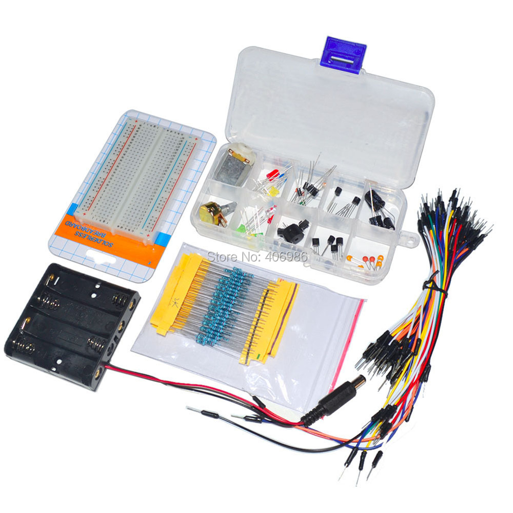 Electronic Universal Parts Kit Breadboard LED Cable Resistor Potentiometer Capacitance for Arduino UNO Kit(China (Mainland))