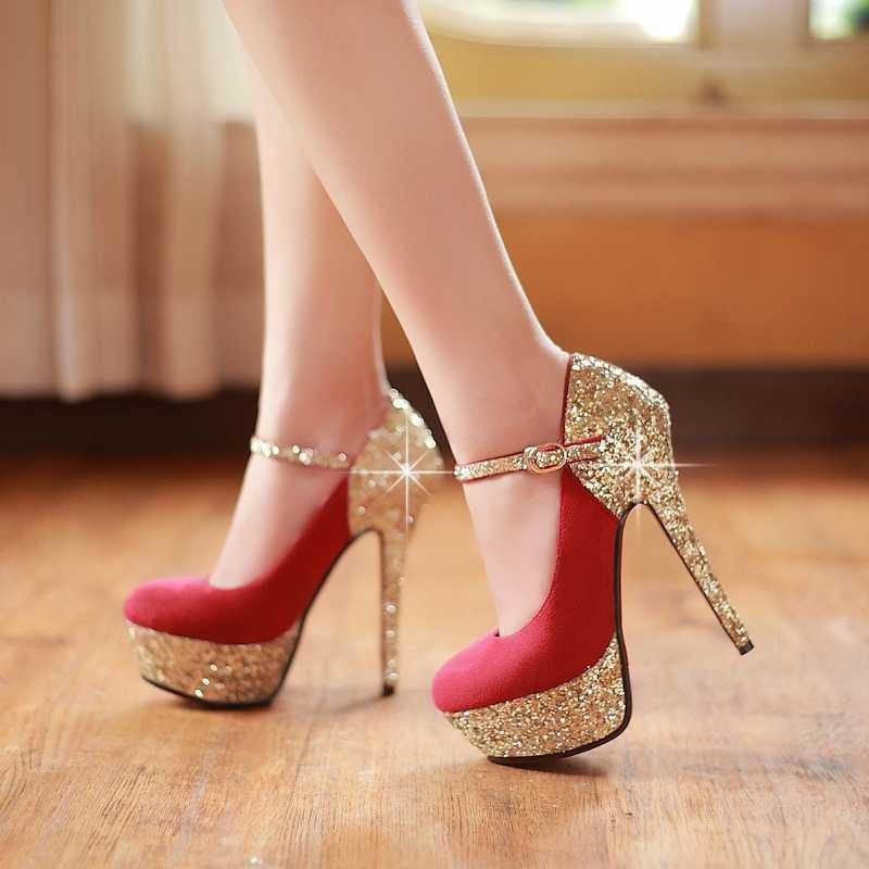 ซื้อ จัดส่งฟรี2016ใหม่เซ็กซี่ปั๊มเลดี้พรหมรองเท้าแต่งงานฤดูใบไม้ผลิรองเท้าส้นสูงรองเท้าฤดูร้อนG old G Litterปั๊มPS57