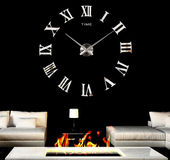 2015 Fashion modern design 3d large decorative wall clocks home decoration acrylic mirror clock living room - DIY Home Decorations-Factory store