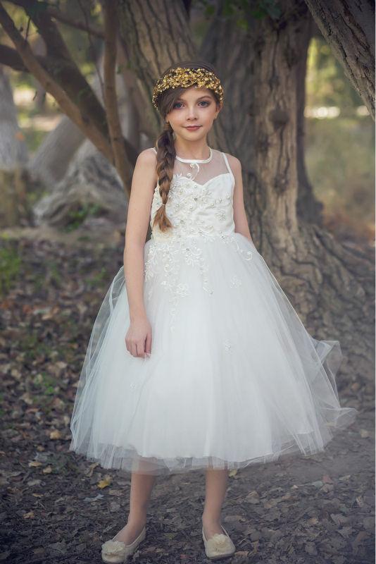 Фотография 2016 New Flower Girls Dresses For Wedding Gowns White Girl Birthday Party Dress A-Line Kids Prom Dresses