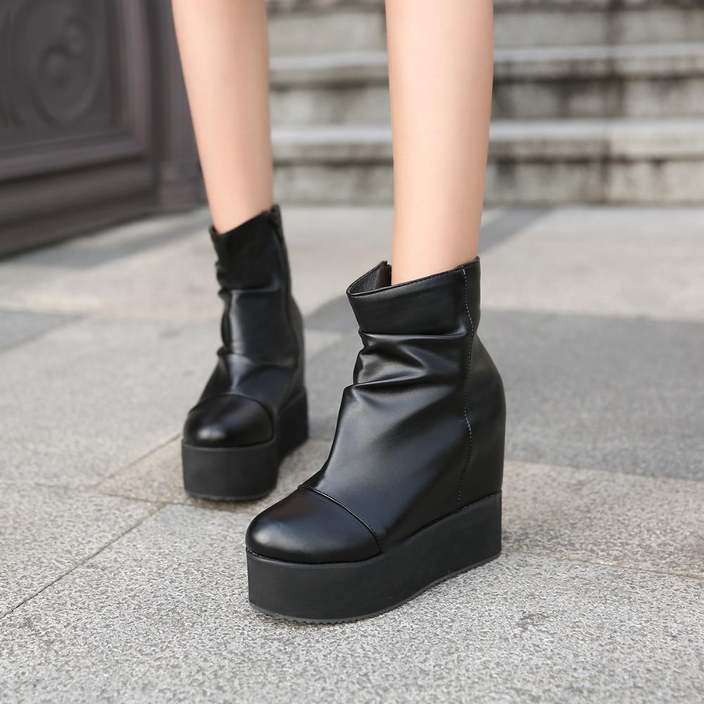 2016 Brand Hidden Wedges Ankle Boots High Heels Platform Women Boots Fashion Autumn Winter Boots casual shoes woman