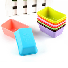 set of 10,   Silicone cake mold / rectangular Muffin cup / pudding jelly mold / Silicone soap mold (7.5*5.5*2.8cm)(China (Mainland))