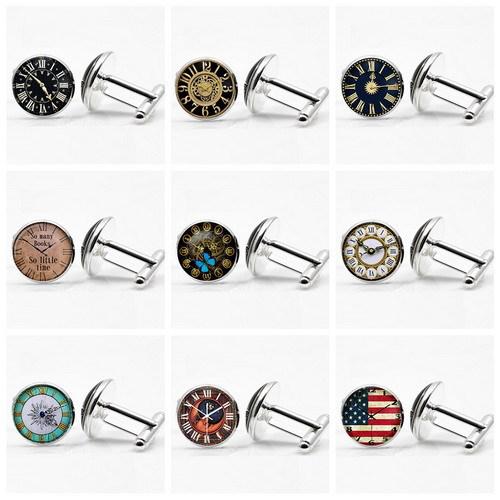 2015 New Men's Gift Jewelry Cuff Links Men National Flag Pattern Clock Design Cufflink Round White Golden Plated Cuff Link Men(China (Mainland))
