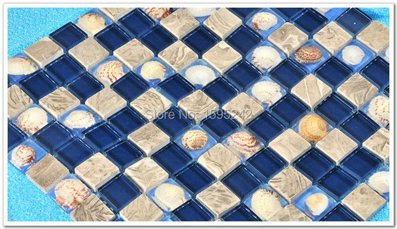 High Quality Blue color shell Mosaic TV setting wall Glass mirror Mediterranean Mosaic tiles Jigsaw puzzle TV setting wall(China (Mainland))