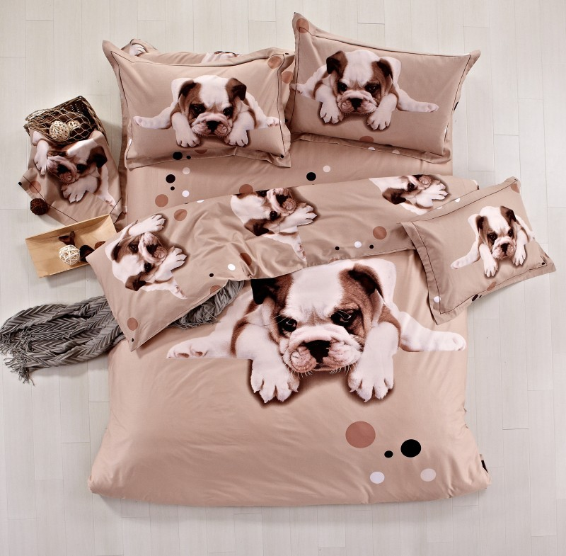 High Quality 100 Cotton 3d Animal Pug Dog Bedding Set