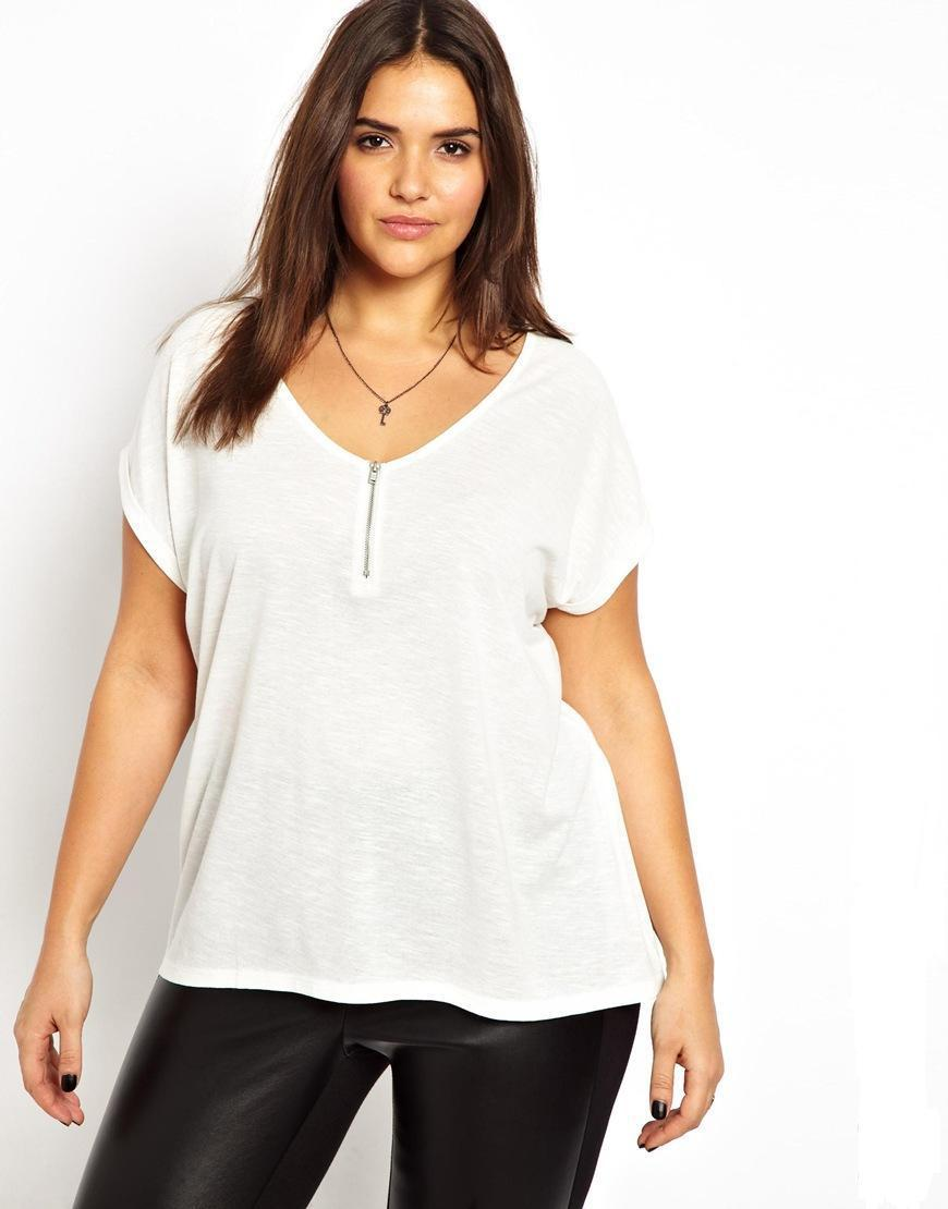 Sexy deep v neck white shirts plus size 6xl 5xl 4xl women for Large shirt neck size