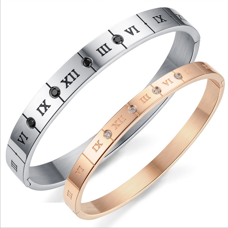 Fashion New Mens Womens Couple Lovers Bangles Stainless Steel Roman numerals Christmas Gifts GH770  -  Coolcastle store