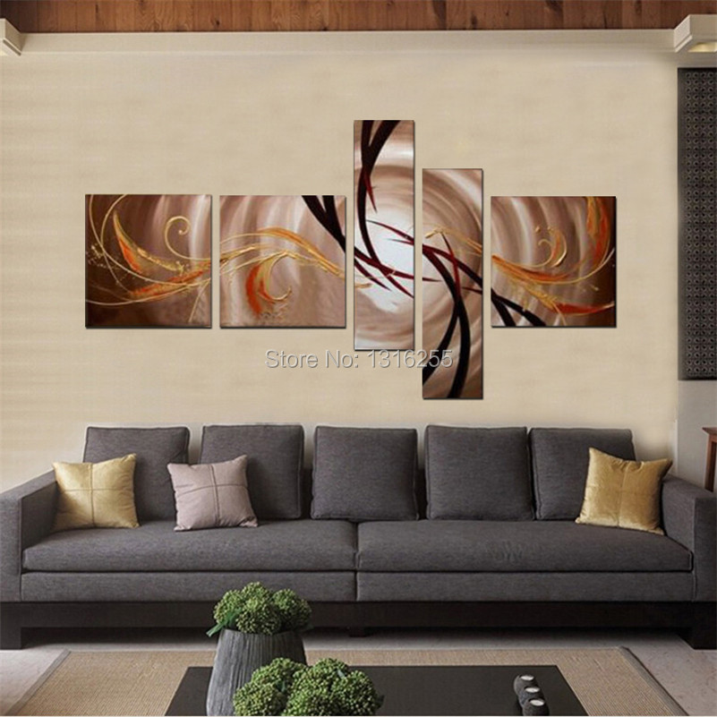 handpainted 5 pcs/set modern abstract oil paintings on canvas wall art pictures for living room home decoration unique gift