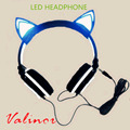 2016 new cat ears headphone folded headband Parade earphone with LED cosplay earphone suitable for holiday