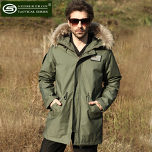 New Seibertron M65 slim fit jacket Field Coat with Liner in Black Olive Natural fur collar winter Hooded Jacket(China (Mainland))