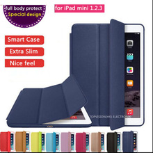 full body protect special design logo thin flip slim magnetic leather case smart cover for apple ipad mini 1 2 3 case cover(China (Mainland))