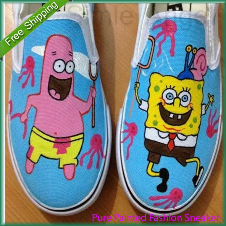 2015 SpongeBob Expression Style Children Sneakers for Girls Boys Canvas Shoes Kids Boy Low Slip-On Hand-painted Shoes Size EU 27(China (Mainland))