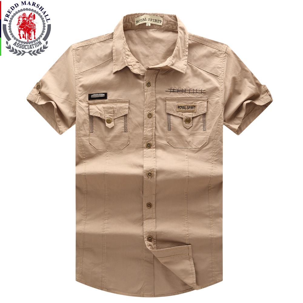 Men 39 s shirt 2016 new men cargo shirt fashion casual short for Men s dress shirt accessories