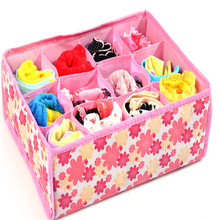 Floral Printing 12 Grids Bag Non-Woven Fabric Folding Case Storage Box For Bra Necktie Socks Underwear Clothes Organizer Boxes(China (Mainland))