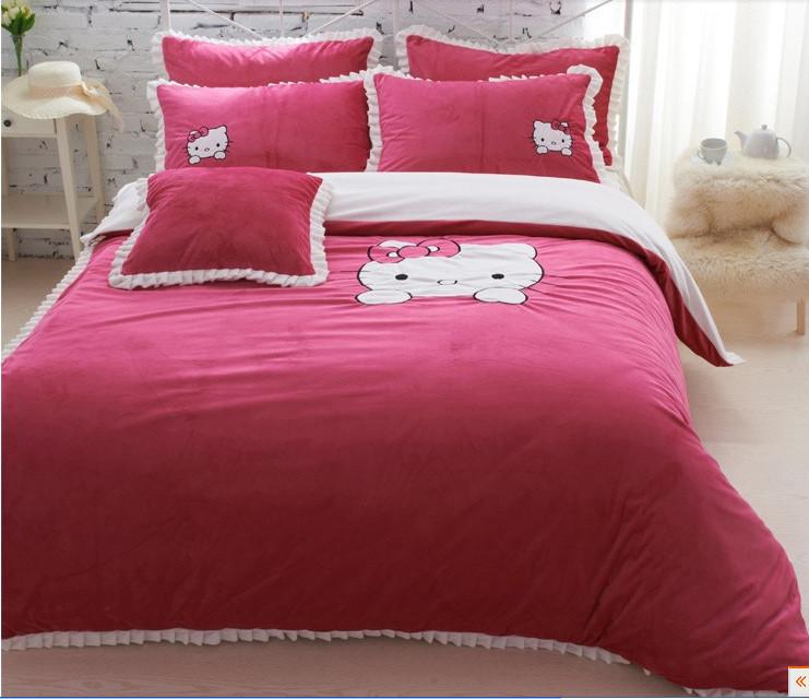 Red hello kitty queen size bedding set velvet warm winter