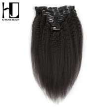 Buy HJ WEAVE BEAUTY Kinky Straight Clip Hair Extensions 70G/set 100% Human Hair Remy Hair 7Pcs/set Natural Color Free for $43.95 in AliExpress store