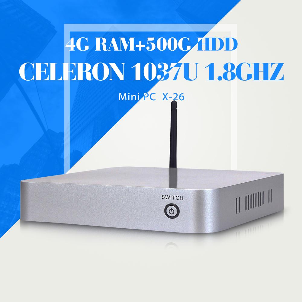 Mini computer X-26 4g ram 500g hdd C1037U desktop pc thin client terminal mini pc support wireless keyboard(China (Mainland))