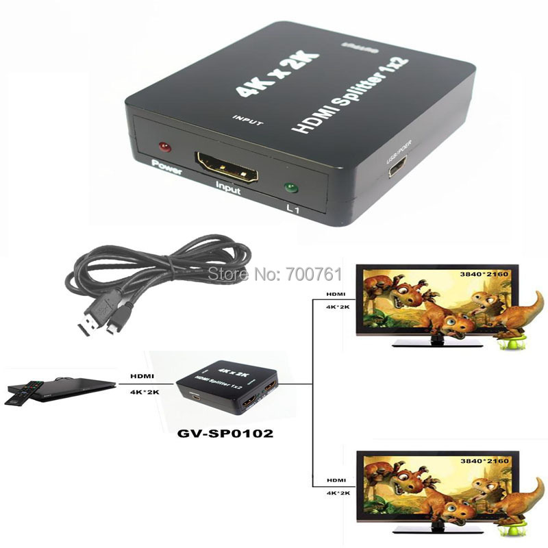 30pcs/lot wholesale 3D 2 port HDMI audio Splitter 1x 2 1.4V 1 in 2 out HDMI switch switcher support Full HD1080P HDTV(China (Mainland))