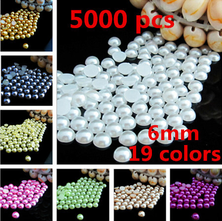 5000 pcs 6mm simulated semicircle perl beads nail bead half perl,garment accessories.phone case colorful perls accessories(China (Mainland))