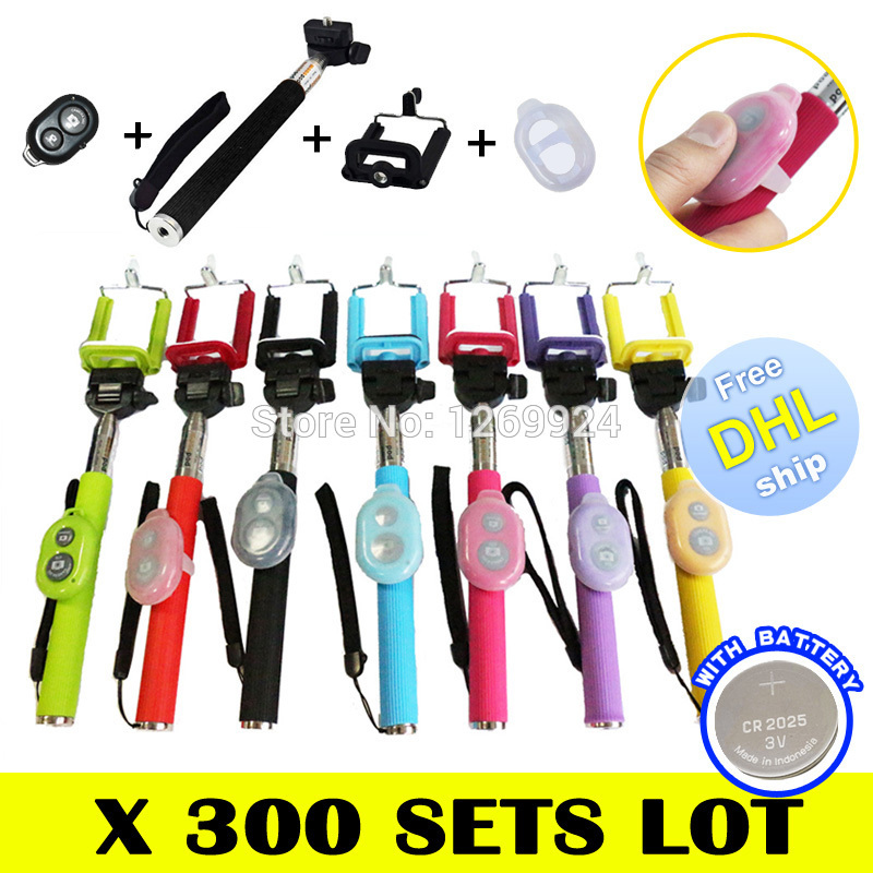 FREE DHL X 300 Color Extendable Selfie Monopod Stick + Phone Self Portrait Clip Holder + Bluetooth Remote Shutter Android iOS(China (Mainland))