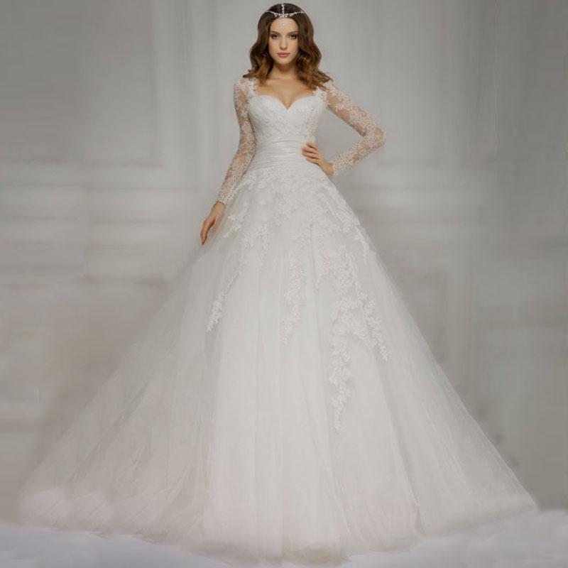 Vestido De Novia Detachable Long Sleeve Wedding Dresses Lace Applqiues Ball Gown Bridal Gown Robe de mariage