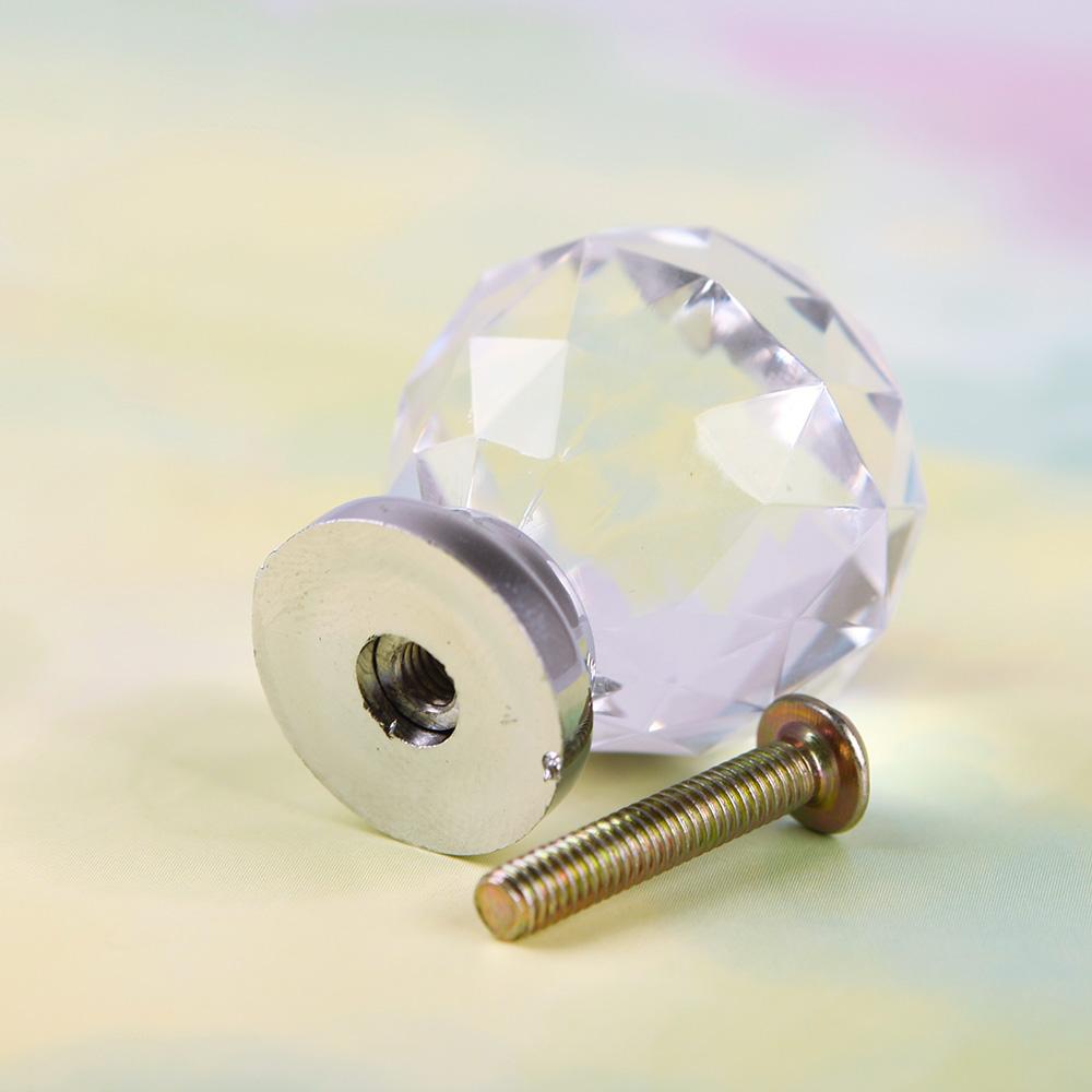 New 30mm Crystal Cupboard Drawer Cabinet Knob Diamond Shape Pull Handle #06 #43886(China (Mainland))