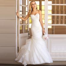 WV276 in stock new fation real photo abito da sposa su ordine del organza semplice ed elegante abito da sposa mermaid 2015(China (Mainland))
