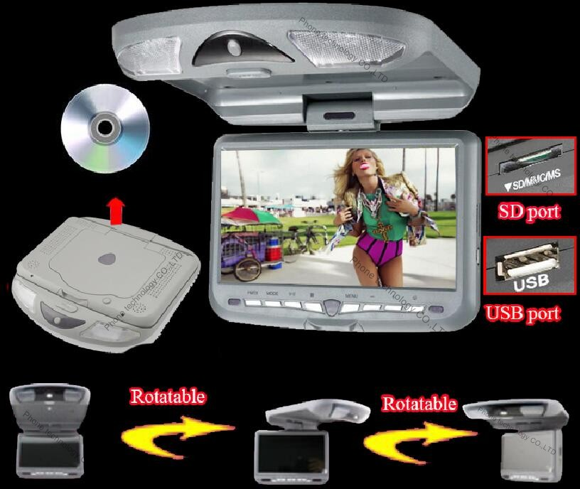 9 inch Roof Mount Car DVD Player Flip Down Car Monitor car ceiling monitor with 32bit Game+MPEG4+USB+SD+FM+IR(China (Mainland))
