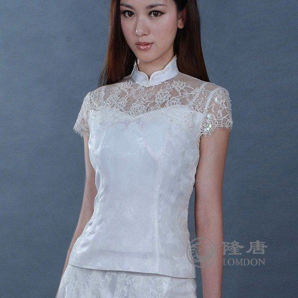 Free shiping/New/White blouse/Tang suit/Top/Two piece set/Chinese traditional shirt/Chinese clothings/Oriental ancient blouse