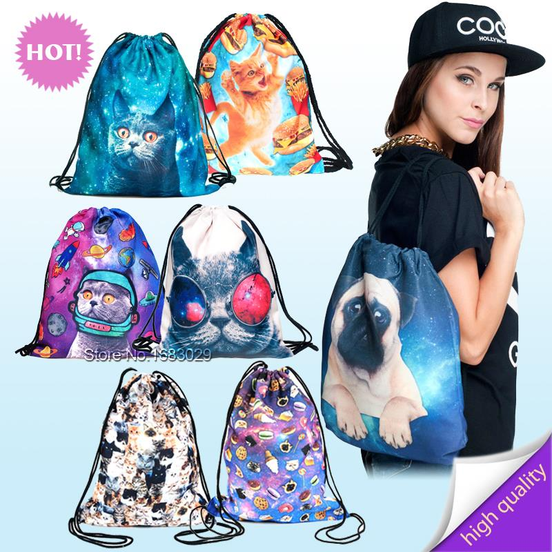 2015 new fashion backpack 3d print animal travel softback man wonmen mochila feminina harajuku drawstring bag